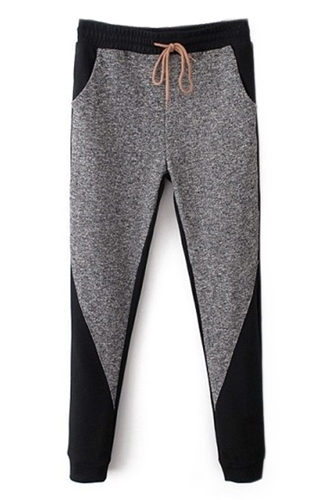 Romwe Romwe Color Block Pocketed Drawstring Grey Harem Pants The Latest Street Fashion