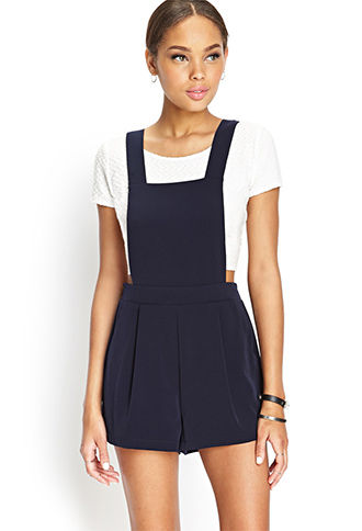 Pleated Convertible Overall Romper Forever 21