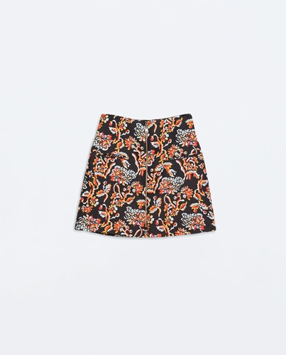 Printed Skirt With A Front Zip Skirts Woman Zara United States