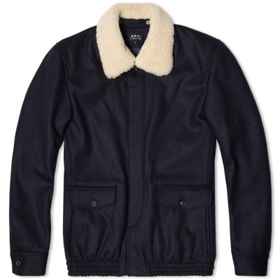 A.P.C. Fur Collar Bomber Jacket Dark Navy