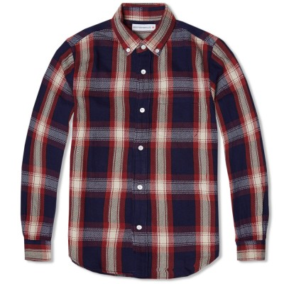 Head Porter Plus Indigo Check Shirt Red