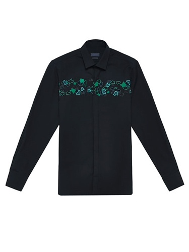 Lanvin Mens Slim Fit Embroidered Long Sleeved Shirt Ln Cc