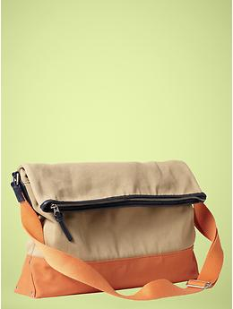 Canvas foldover messenger Gap