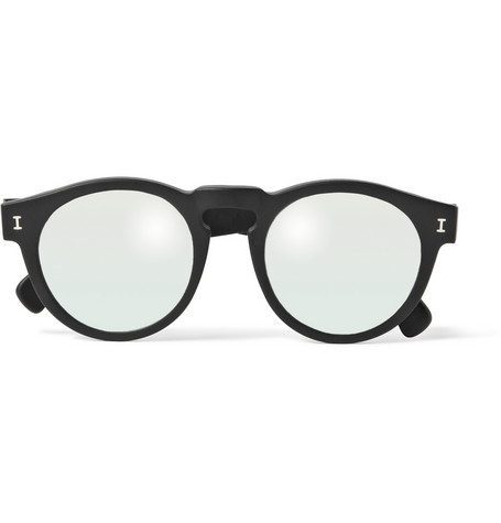 Illesteva Leonard Round Frame Matte Acetate Mirrored Sunglasses Mr Porter