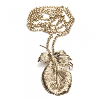 BAL Feather Gold Necklace Balenciaga