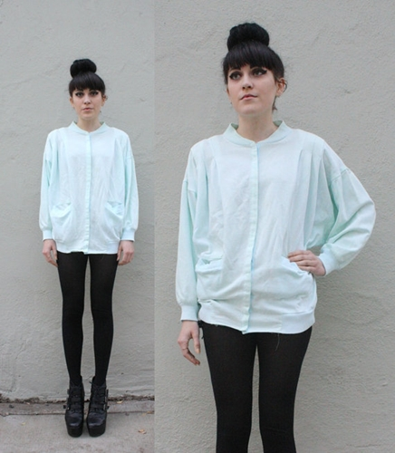 Batwing Sleeve Pastel Blue Sweater By Peachstreetvintage On Etsy