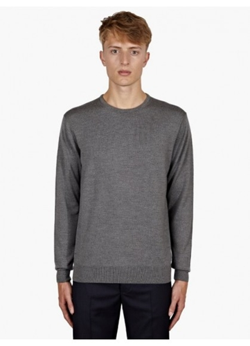 Sunspel Men's Grey Merino Wool Jumper Oki Ni
