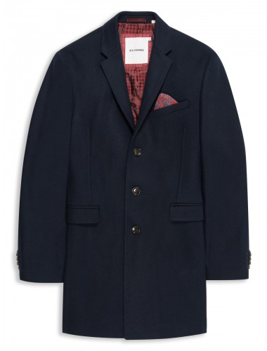 Melton Wool Covert Coat Staples Navy Ben Sherman