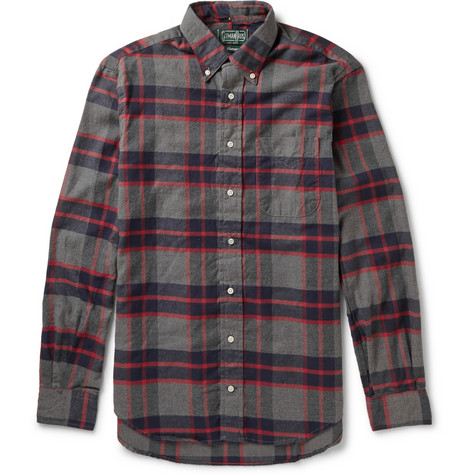 Gitman Vintage Button Down Collar Checked Cotton Flannel Shirt Mr Porter