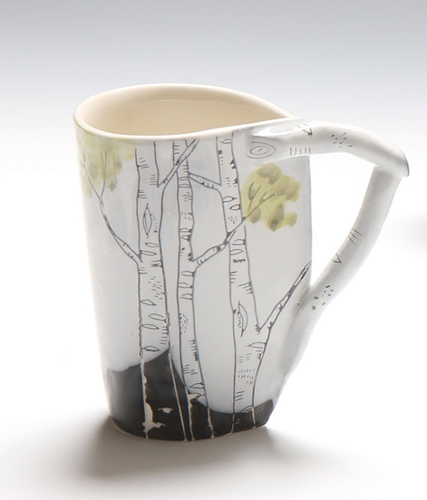 Birch Cup White with leaves by JosiesPotShop on Etsy