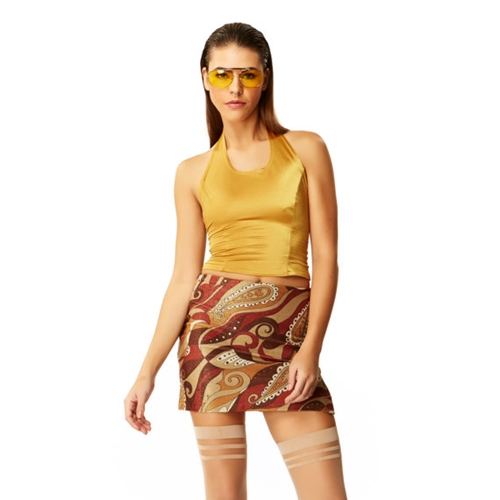 Day Tripper Copper Paisley Sparkle Spandex By Americandeadstock