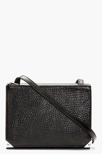 Alexander Wang Black Pebbled Leather Prisma Double Envelope Shoulder Bag For Women Ssense