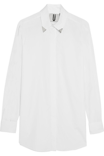 Topshop Unique Embellished Cotton Poplin Shirt Net A Porter.Com