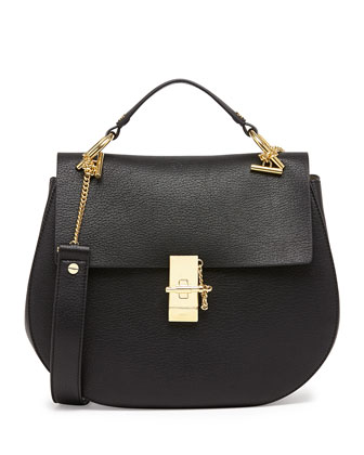Chloe Drew Medium Calfskin Shoulder Bag Black