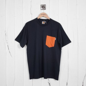 Carhartt T Shirt Navy Contrast Pocket Shop Carhartt Wip At Denim Geek.