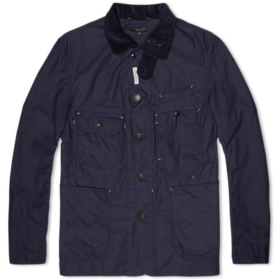 Engineered Garments Coverall Jacket Navy Nyco Reversed Sateen