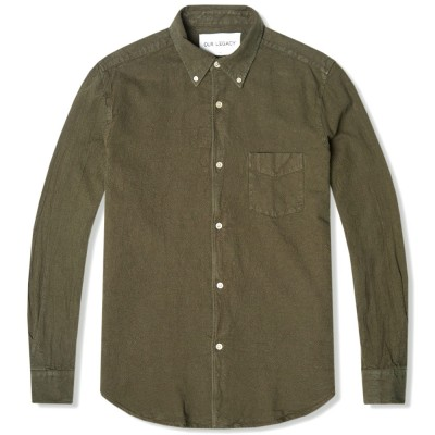 Our Legacy 1950S Button Down Shirt Olive Heavy American Oxford
