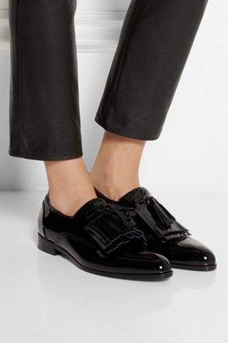 Lanvin Mila Fringed Patent Leather Loafers Net A Porter.Com