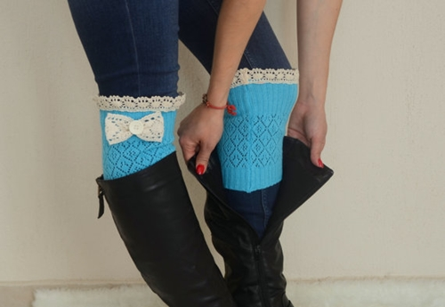 Turquoise Bow Lace Boot Cuffs Boho Boot Socks Lace Cuffs By Bstyle