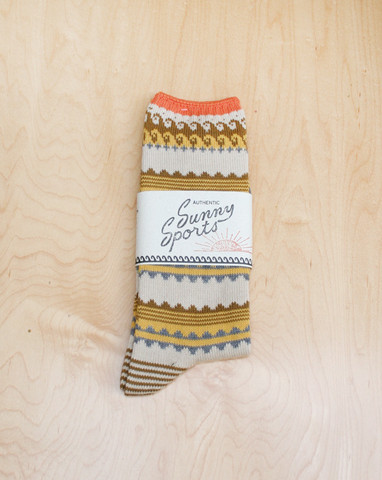 Mohawk General Store Long Rib Sock in Border Beige