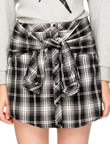 Sleeve Tie Plaid Skirt Check Skirt 90S Grunge Skirt 40