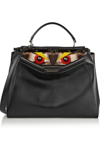 Fendi Peekaboo Medium Leather And Calf Hair Tote Net A Porter.Com
