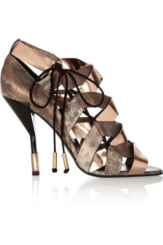 Metallic Elaphe And Leather Sandals Pierre Hardy The Outnet