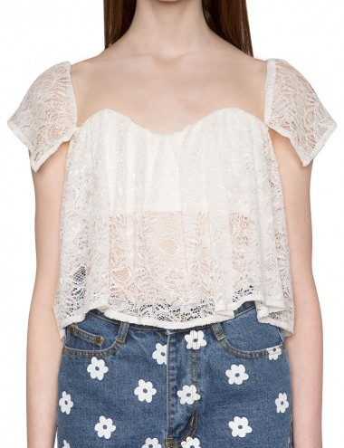 White Lace Crop Bustier Top Lace Off The Shoulder Top 48