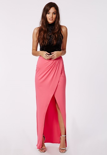 missguided wrap front split maxi skirt pink nuji