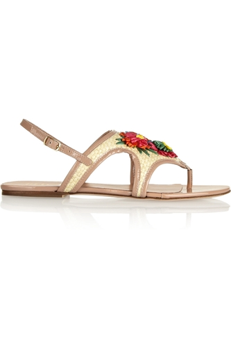Patent Leather And Raffia Sandals Redvalentino The Outnet