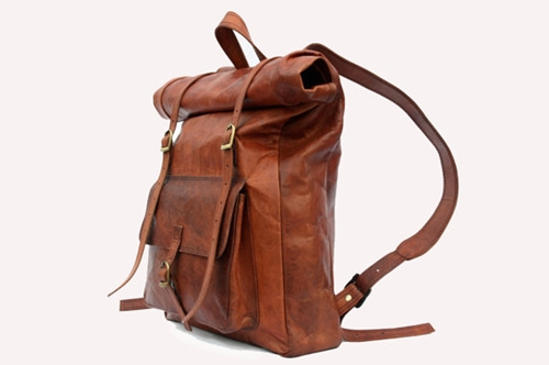 Leather Roll Top Backpack Rucksack Vintage By Leftoverstudio