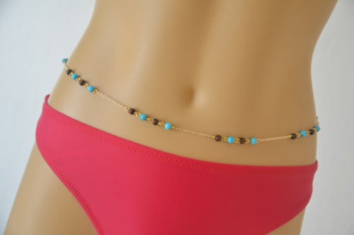 Gold Belly Chain Featured Turquoise And Wood Beads Beach By Bstyle