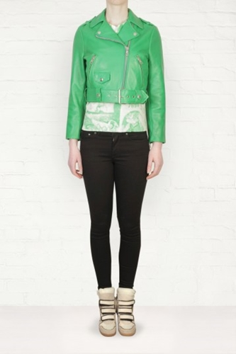 Acne Mape Cropped Green Leather Jacket