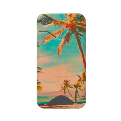 PixDezines Vintage Hawaiian Beach Scene teal Id Iphone 4 Cover from Zazzle com
