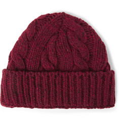 Oliver Spencer Cable Knit Wool Blend Beanie Hat