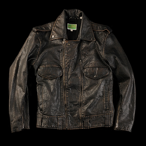 UNIONMADE Levi s Vintage Clothing Biker Leather Jacket in Washed Black