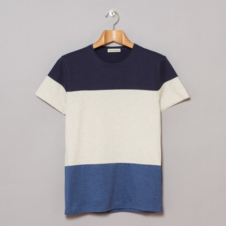 Oliver Spencer Panel Tee Navy Oatmeal Denim Oi Polloi