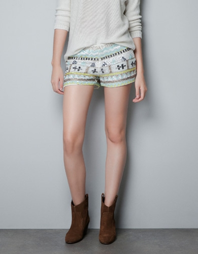 SEQUINNED SHORTS Trousers TRF New collection ZARA Netherlands