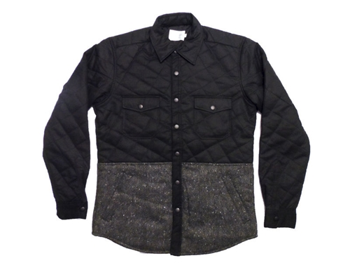 Shades Of Grey Quilted Shirt Jacket Black Waxed Twill Speckled Tweed Renown Goods