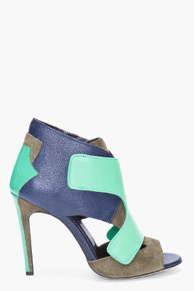 Neil Barrett Navy Patchwork Heels for women SSENSE