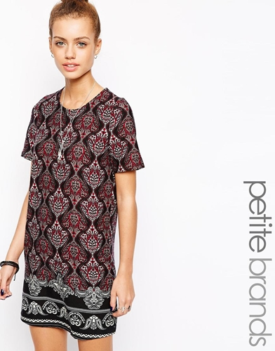 Glamorous Petite Border Print T Shirt Dress