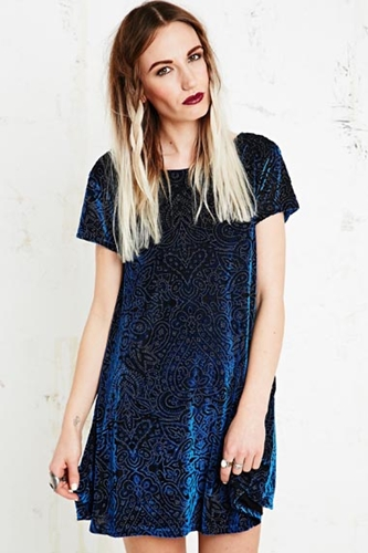 Minkpink Velvet Burnout Dress In Navy At Urban Outfitters