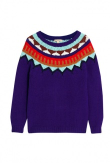 Blue Intarsia Jumper By Burberry Brit