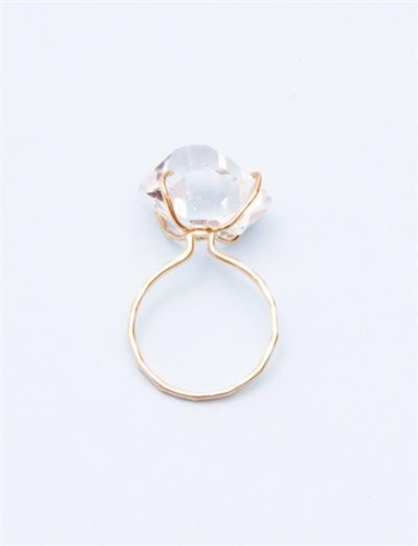 Melissa Joy Manning Large Herkimer Diamond Ring Gold