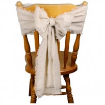 Cotton Muslin Linen Chair Sash With Fringe Edge