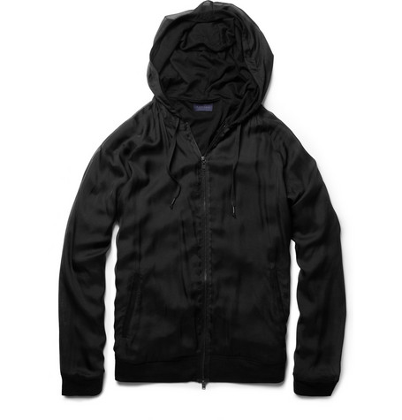 Lanvin Silk Chiffon and Cotton Blend Zip Up Hoodie MR PORTER