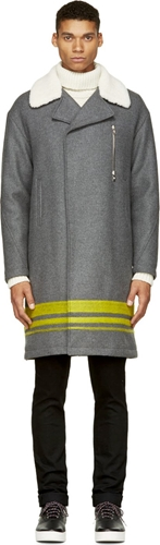 Moncler Gamme Rouge Grey Shearling Collar Coat Ssense