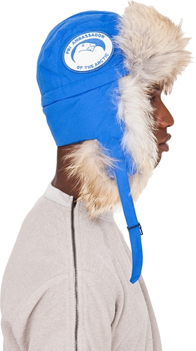Canada Goose Blue Coyote Fur Aviator Hat Ssense