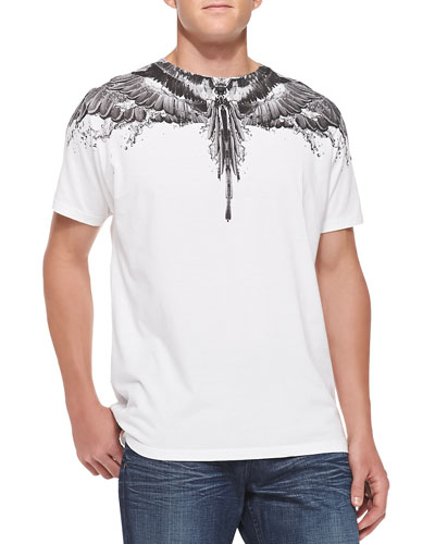 Marcelo Burlon Feather And Water Print Tee White
