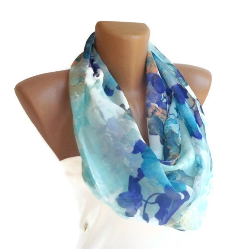 Infinity Loop Women Scarf Floral Print Purple By Senoaccessory
